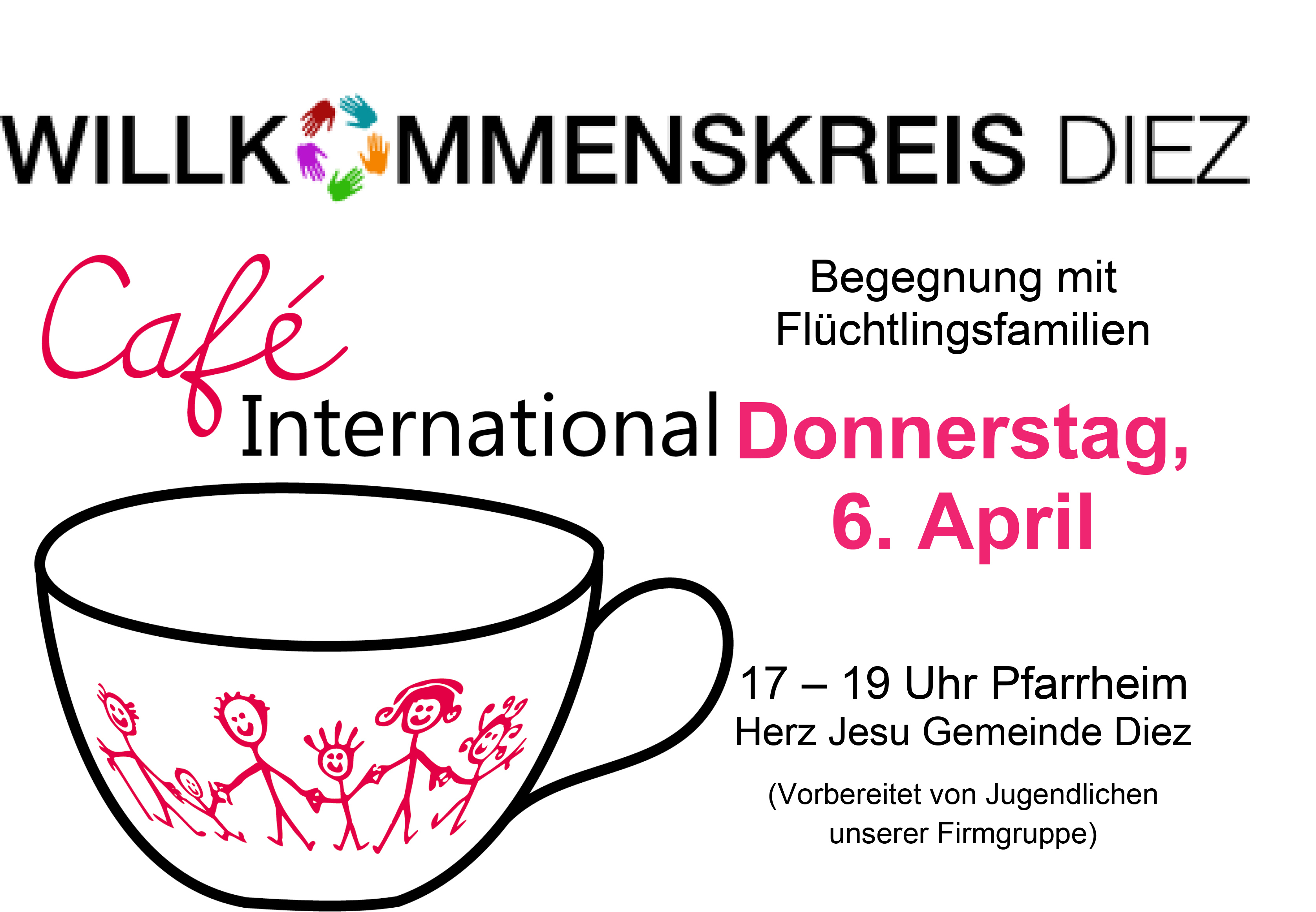 willkommenskreis einladung zu cafe international, Einladung